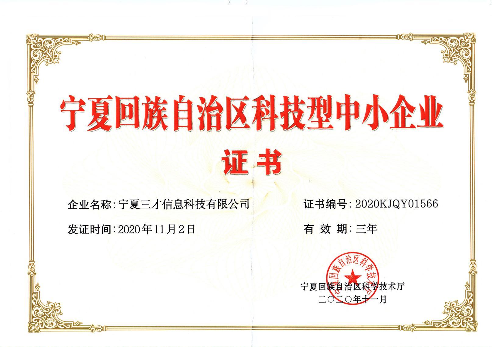宁夏回族自治区科技型中小企业证书